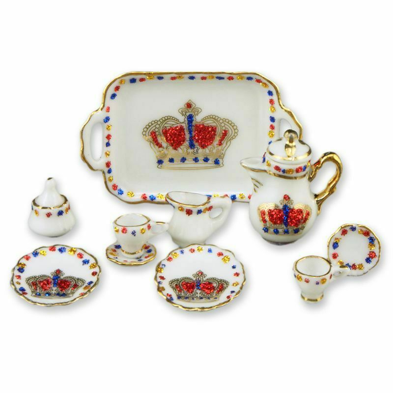 Dollhouse Miniature Royal Crown Tea Service For Two By
