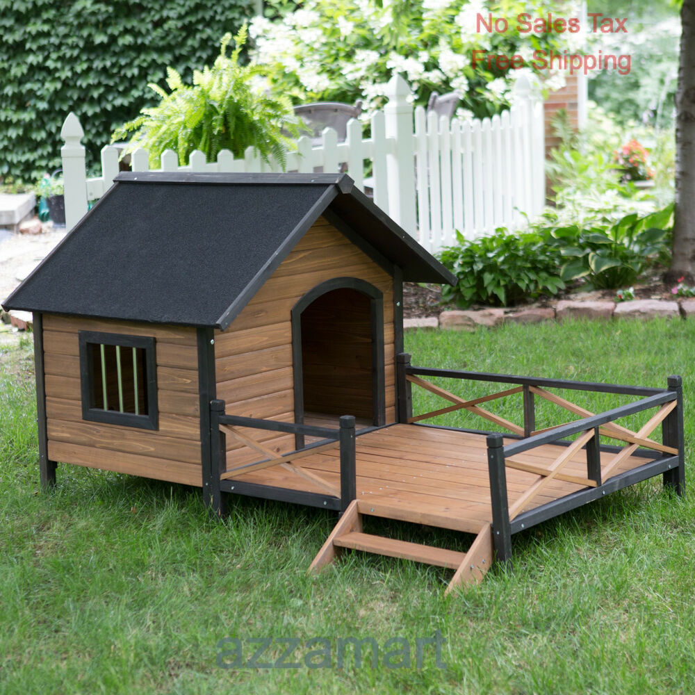 Outdoor Shelters For Pets : Lodge dog house weather resistant wood large outdoor pet