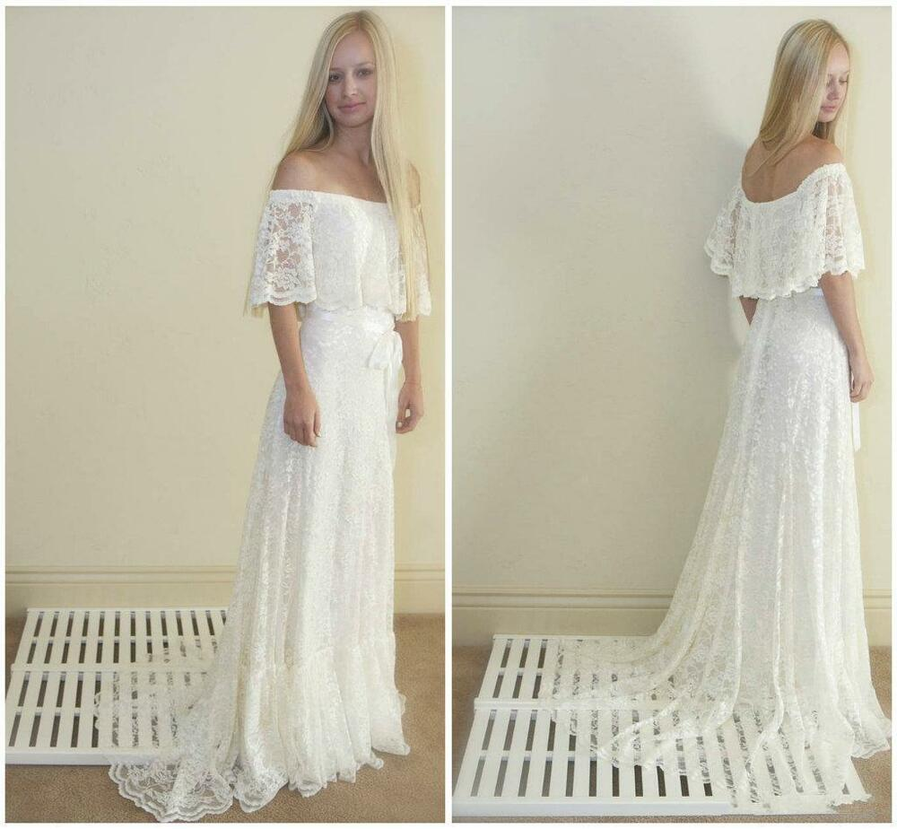 Bohemian Off Shoulder Lace A Line Beach Wedding Dress