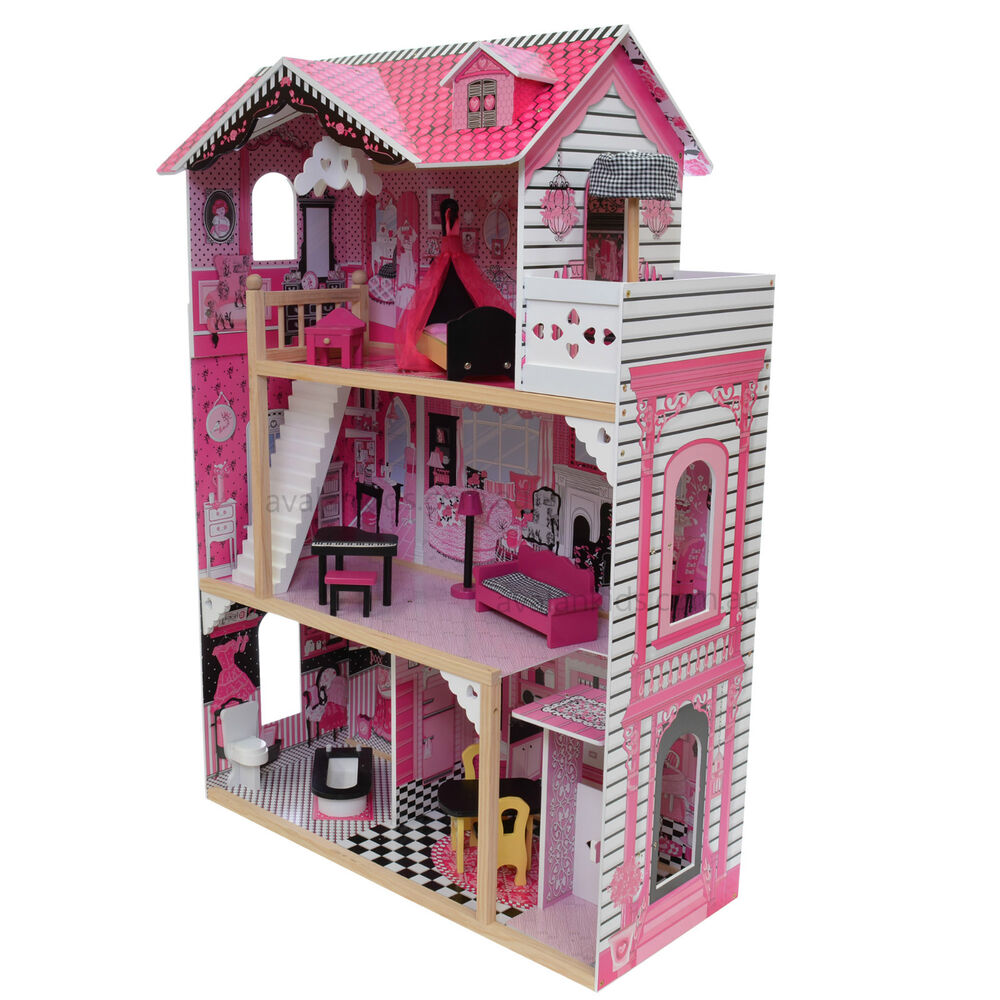 Alexandra Wooden Doll House With Elevator Furniture Kids Toy Pretend Play Barbie Ebay