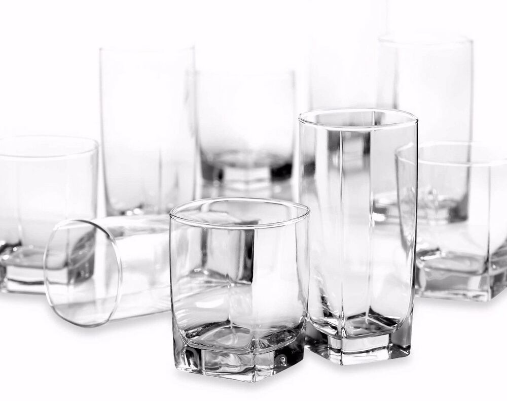 New 16 Piece Clear Drinking Glass Set Water Kitchen