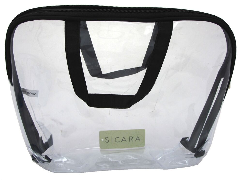 sicara clear cosmetic bag large carryall handle 9x12x2