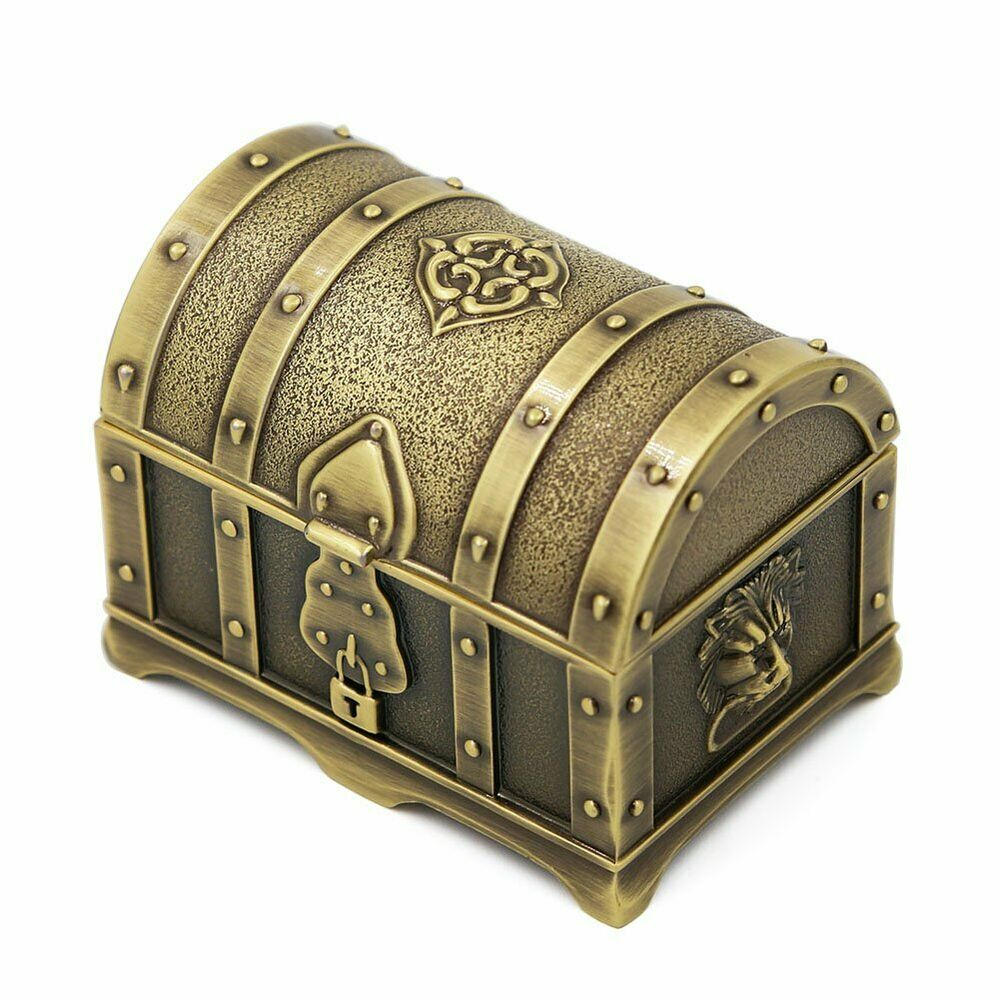 Small treasure chest jewelry trinket box storage container for Storage treasures