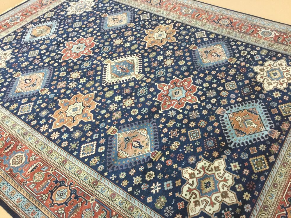 9 x 12 navy blue rust karajeh persian oriental area rug for Blue and white oriental rug