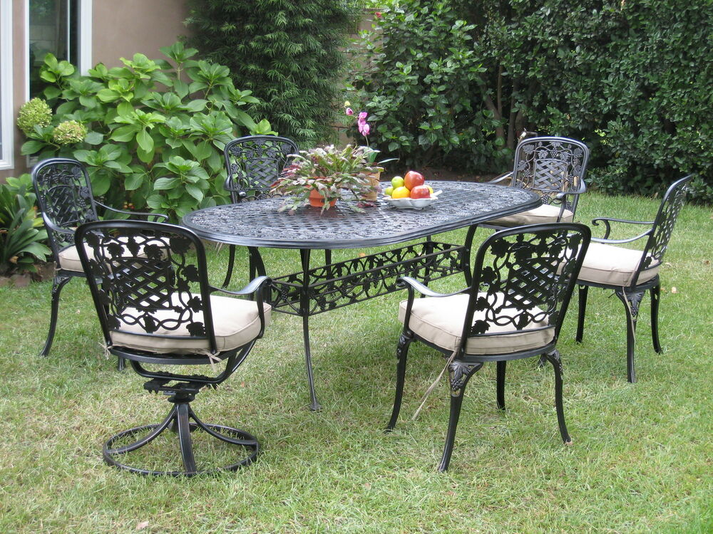 Cast Aluminum Outdoor Patio Furnitures 7 Piece Dining Set ...