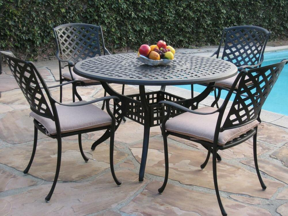 Kawaii Cast Aluminum Outdoor Patio Furniture 5 Piece 48