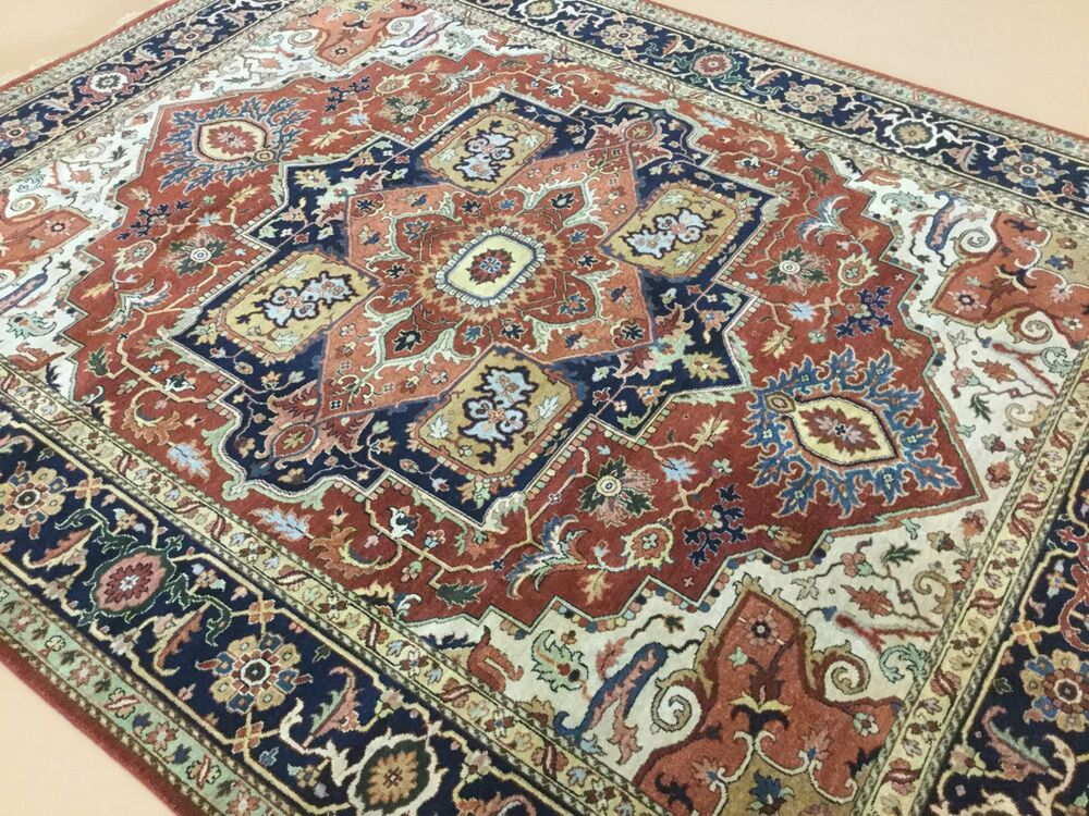 8 X 10 Rust Navy Blue Serapi Persian Oriental Area Rug