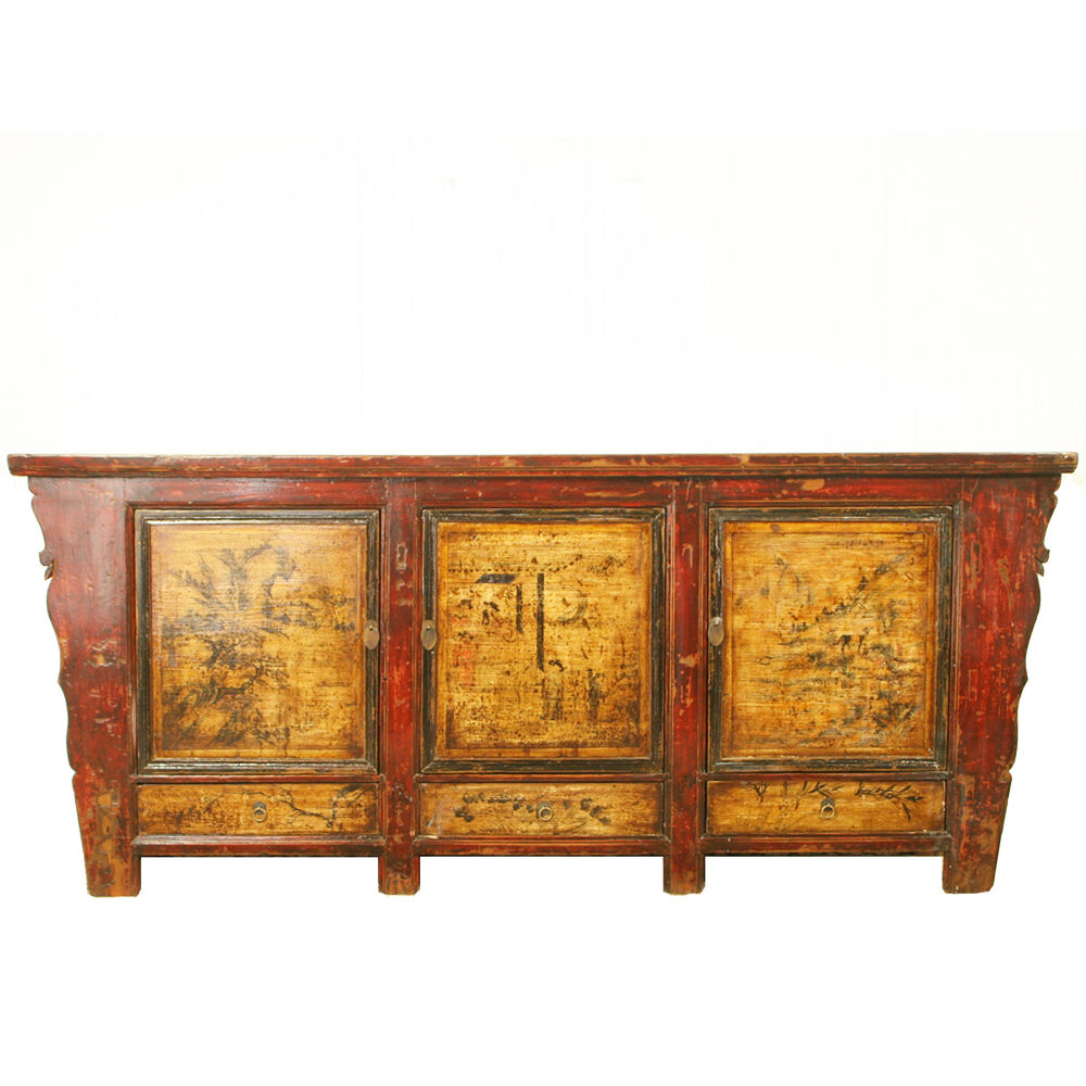 Antique mongolian 87 long sideboard buffet credenza for Antique asian cabinet