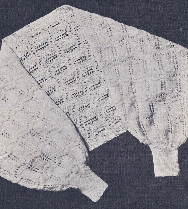 Vintage Knitting PATTERN to make Shoulderette Shrug Bed Jacket Sweater Shawl ...