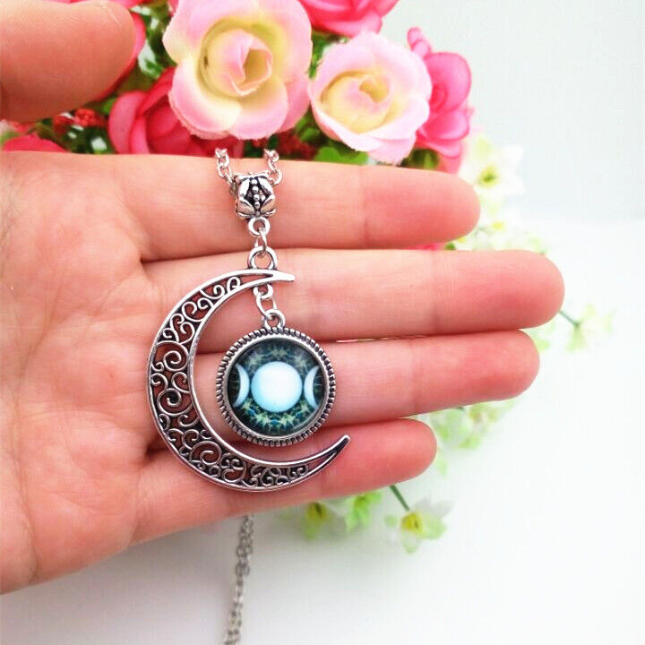 Triple Moon Goddess necklace blue white wiccan pagan wicca ...