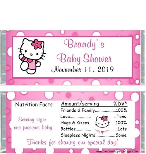 Hello Kitty Personalized Baby Shower Candy Bar Wrappers