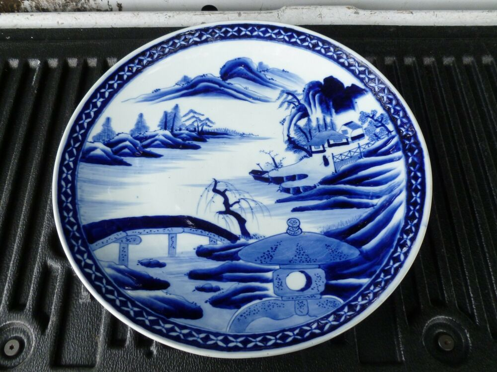 Large Antique Period Chinese Qing Dynasty Blue And White
