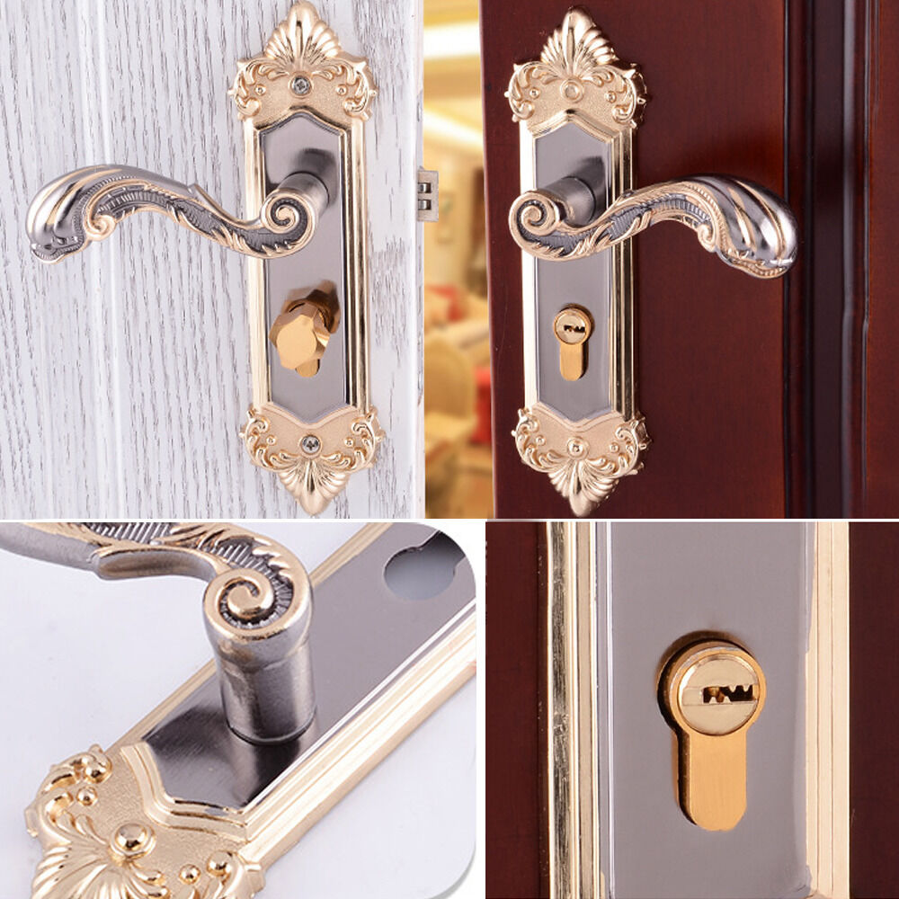 Continental antique yellow bronze mechanical locks for Interior door hardware