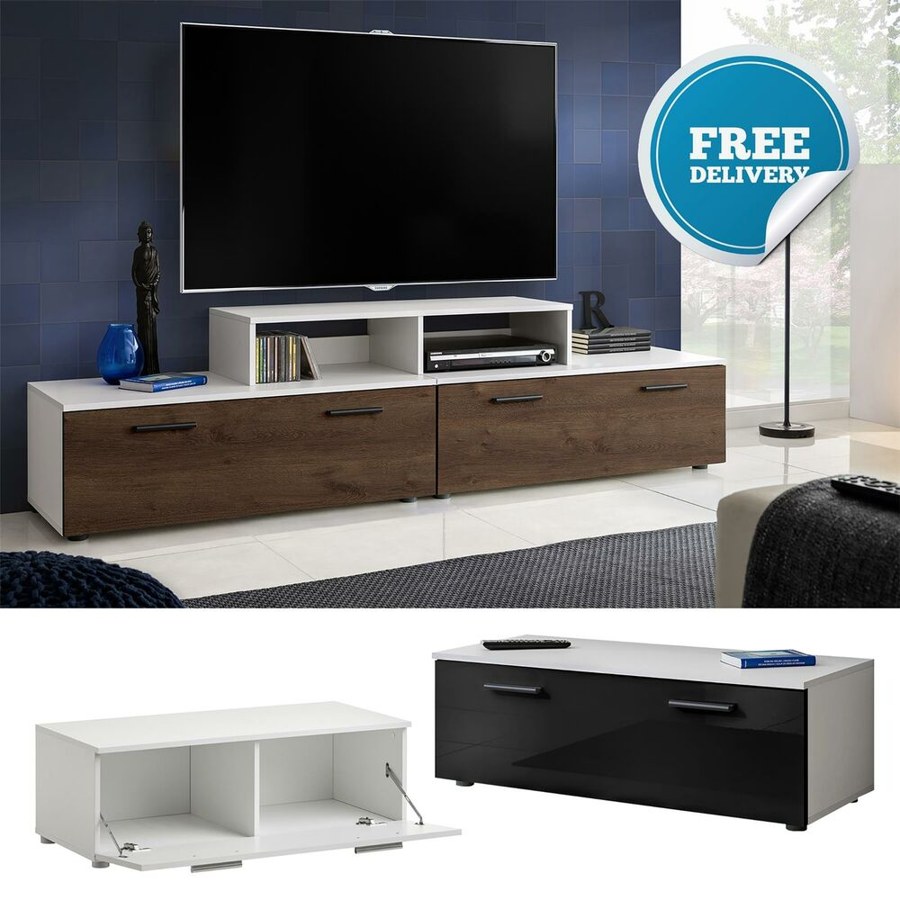 White Tv Cabinet Living Room Furniture: TV Cabinet Unit Stand High Gloss Fronts Modern Body Living