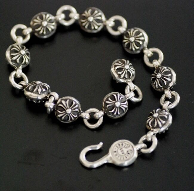 Cross Charm Bracelet: CHROME HEARTS Sterling Silver Cross Charm Ball Bracelet