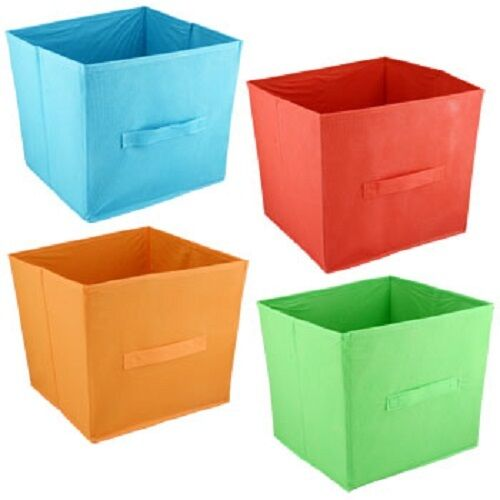 set of 3 large green fabric collapsible storage bin container cubes ebay. Black Bedroom Furniture Sets. Home Design Ideas