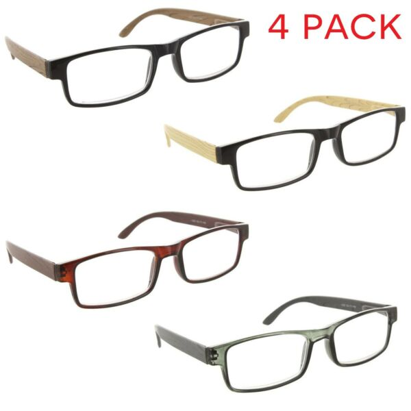Fiore 4 Pack Reading Glasses Wood Style Clear Lens Readers for Men and Women