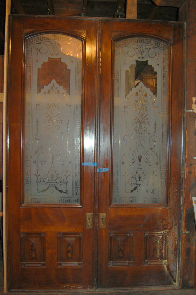 Awesome 1884 Grand Pocket Doors Etched Beveled Glass
