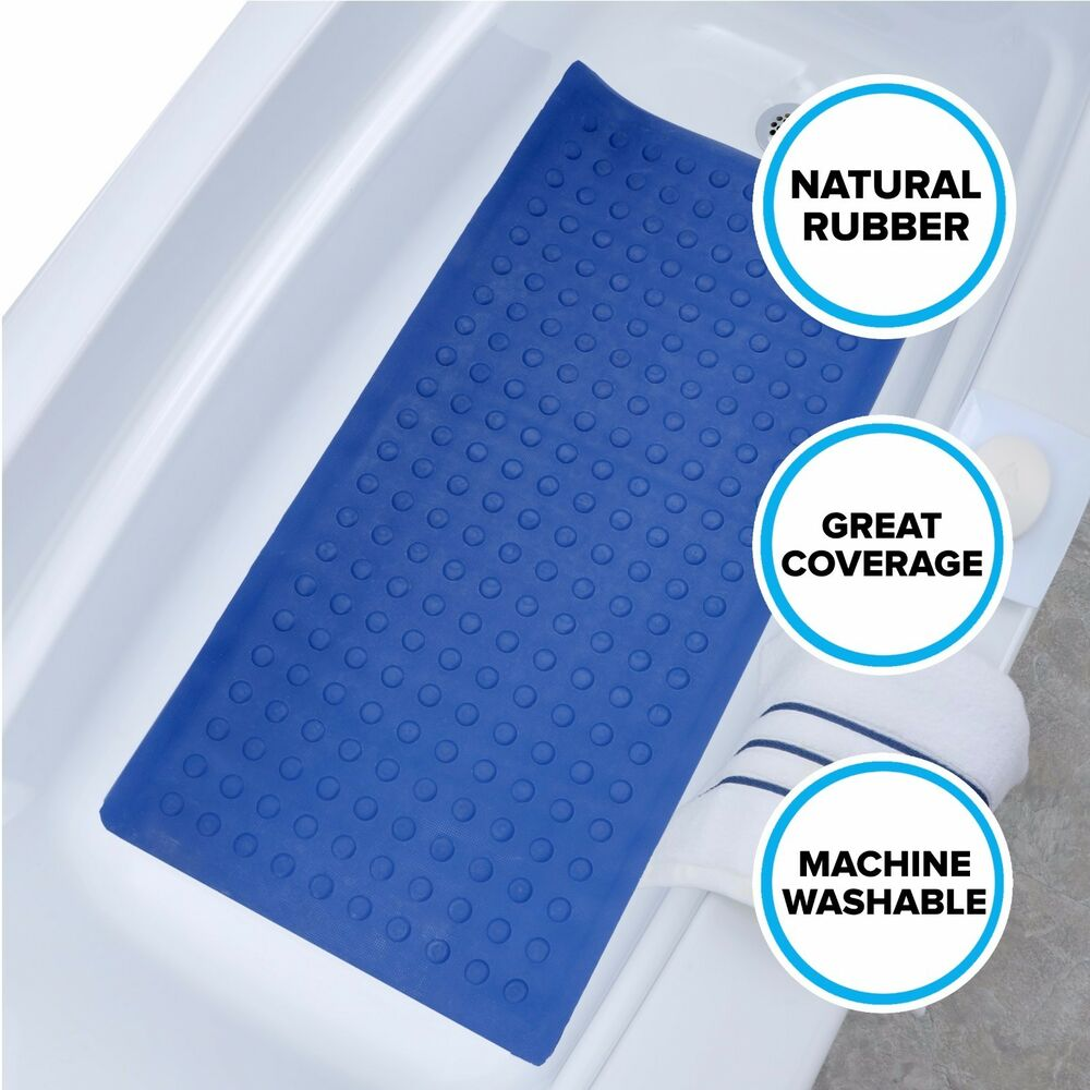 Extra Long Rubber Bath Safety Mat Blue SlipX Solutions In Tub Suction Cup Ma