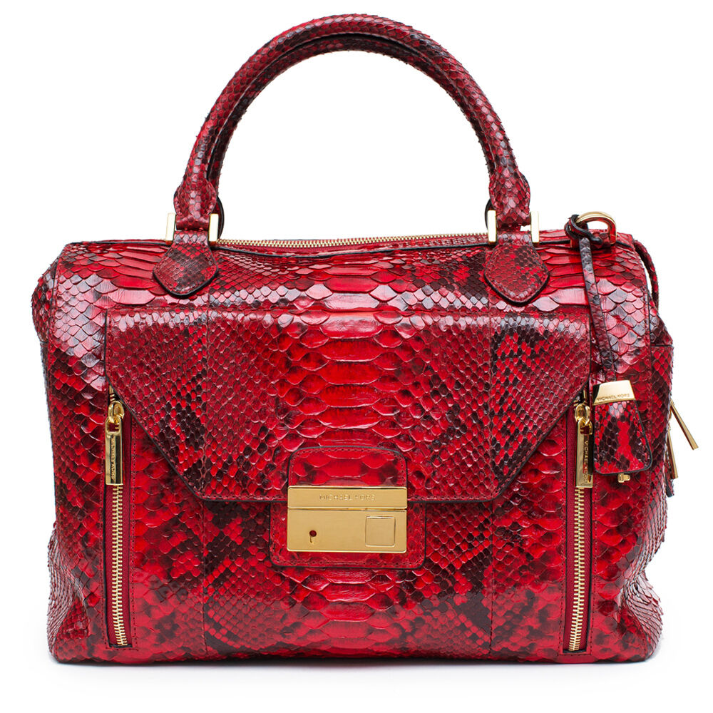 Michael Kors New Gia Python Satchel Crimson Red Black