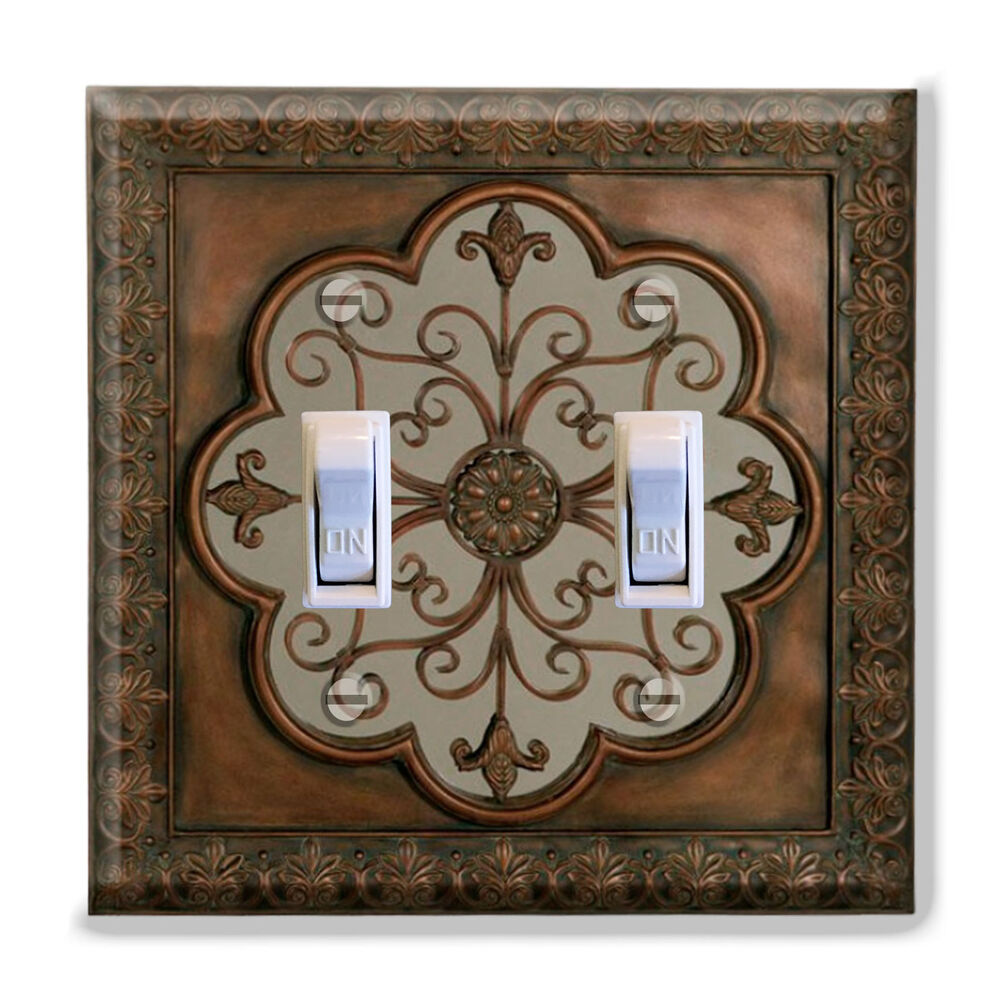 Light switch plate cover faux finish fleur de lis image for Decorative home