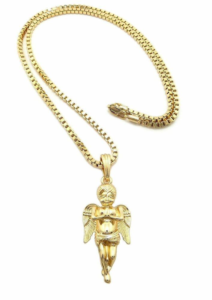 New Baby Angel Bling Micro Pendant W 3mm 24 Quot Box Chain