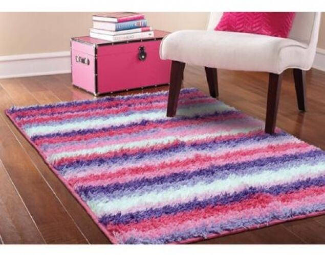pink shag area rug striped girls kids bedroom furniture 12847 | s l1000