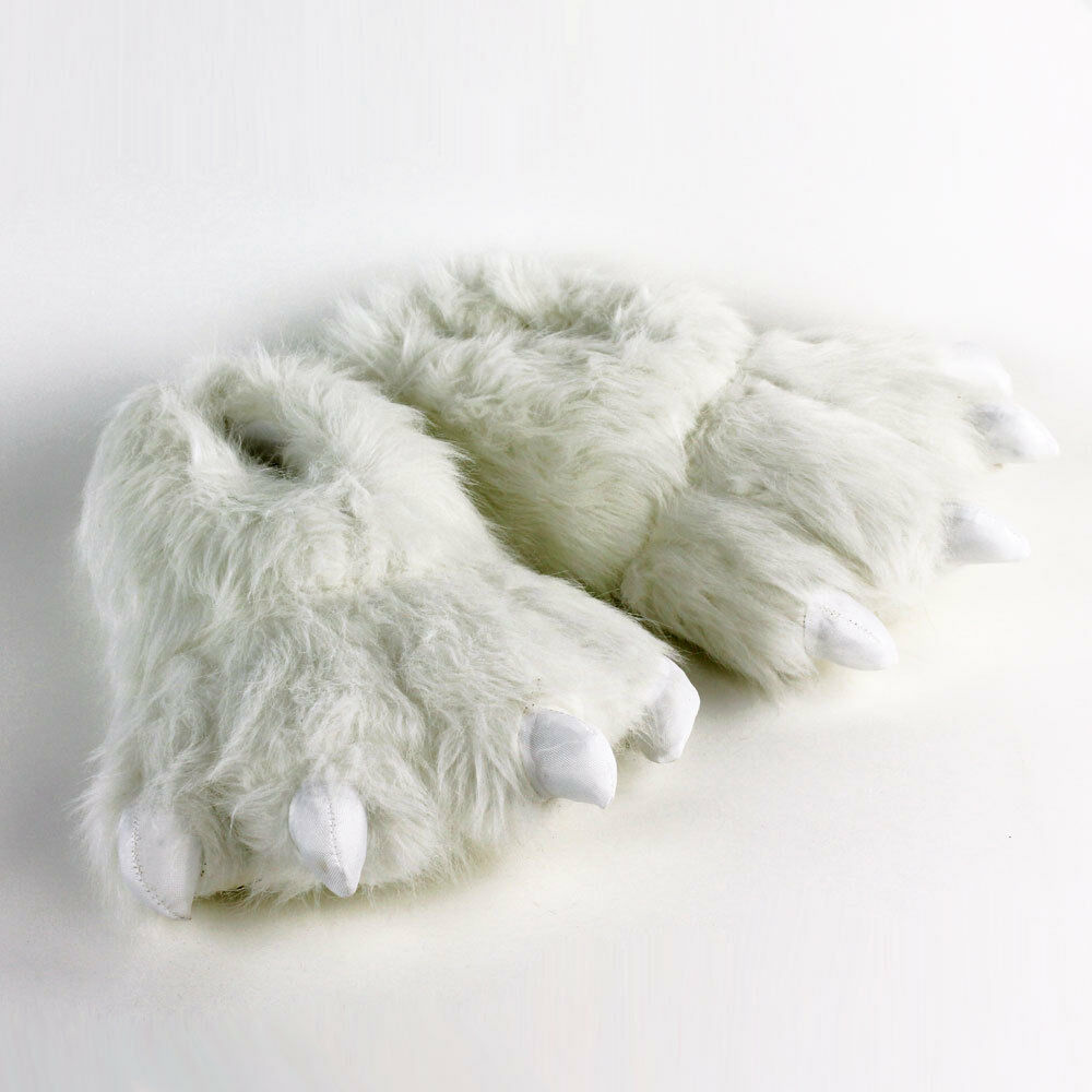 Polar Bear Paw Slippers - White Animal Feet Slippers | eBay