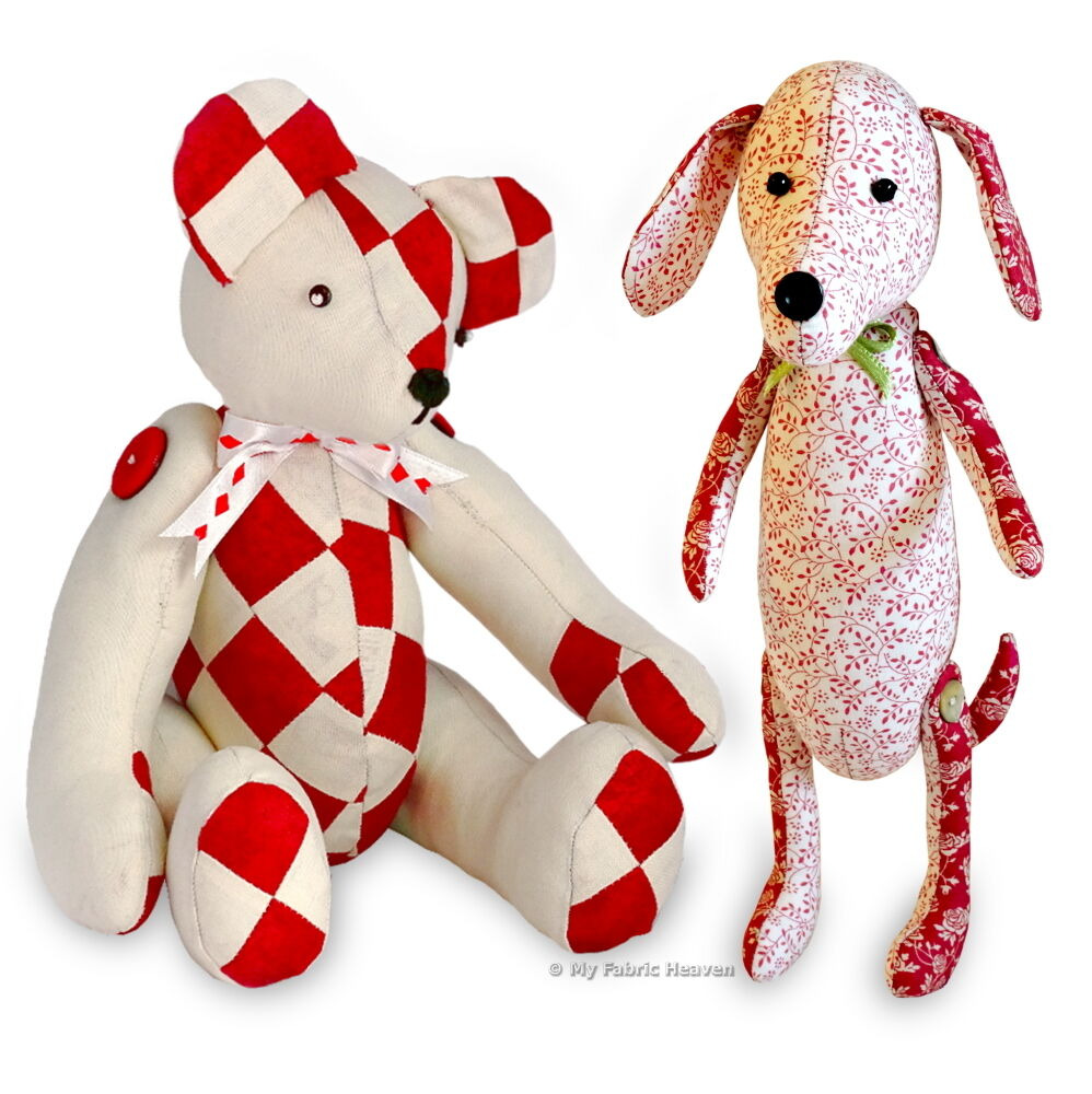 2 X SEWING PATTERNS Dainty Dachshund Dog & Patchwork Memory Teddy ...
