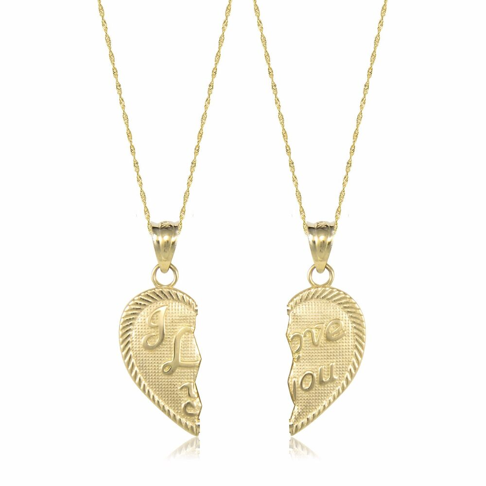 431fad4be0 14K Solid Yellow Gold I Love You Half Heart Necklace Pendant +2 Singapore  Chains | eBay