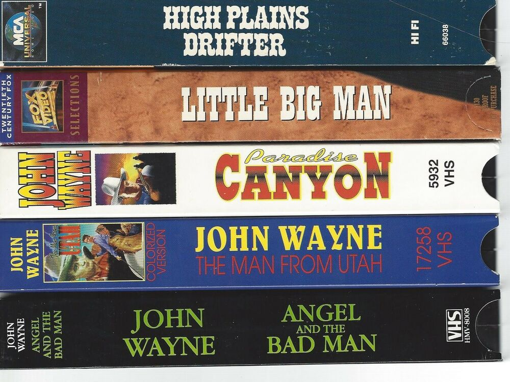 western lot of 5 vhs tapes with wayne eastwood hoffman