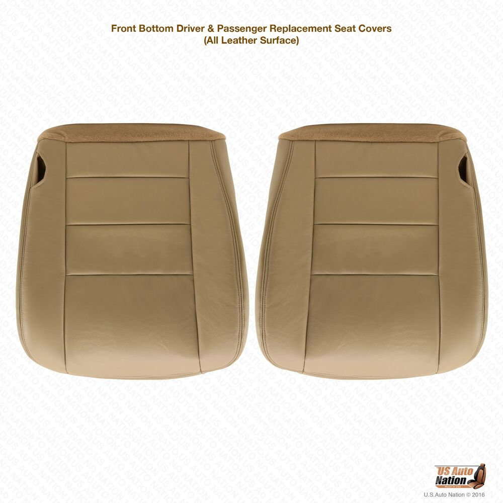2006 2007 Ford F250 F350 Lariat Driver Amp Passenger Bottom Leather Seat Cover Tan Ebay