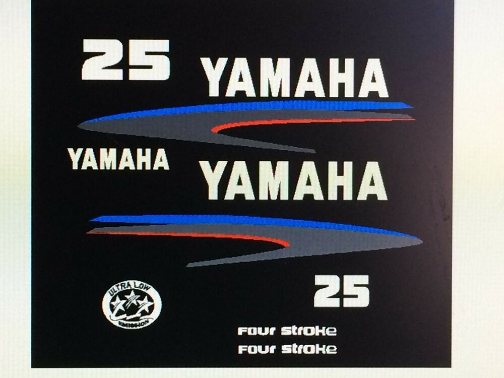 Yamaha outboard motor decal kit 25 hp 4 stroke kit for Custom outboard motor decals