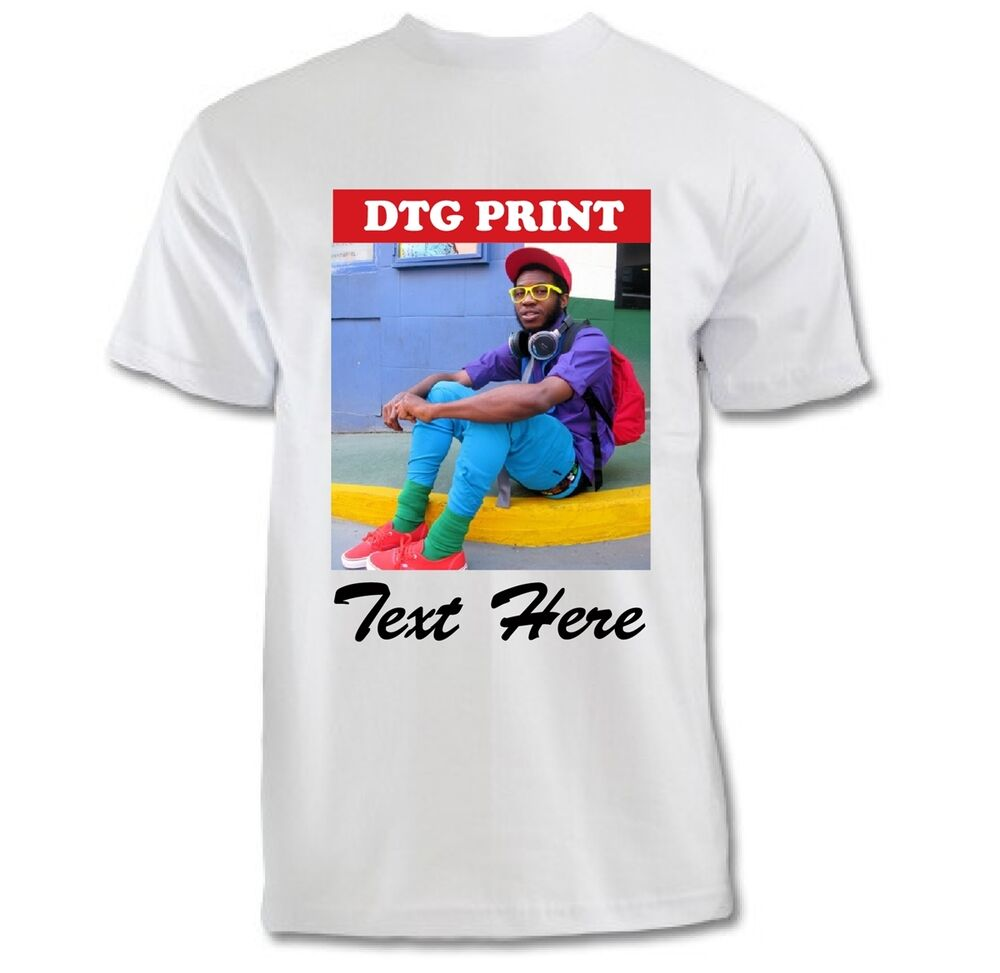 Custom printed t shirts photo logo text image printing for Personal t shirt printing