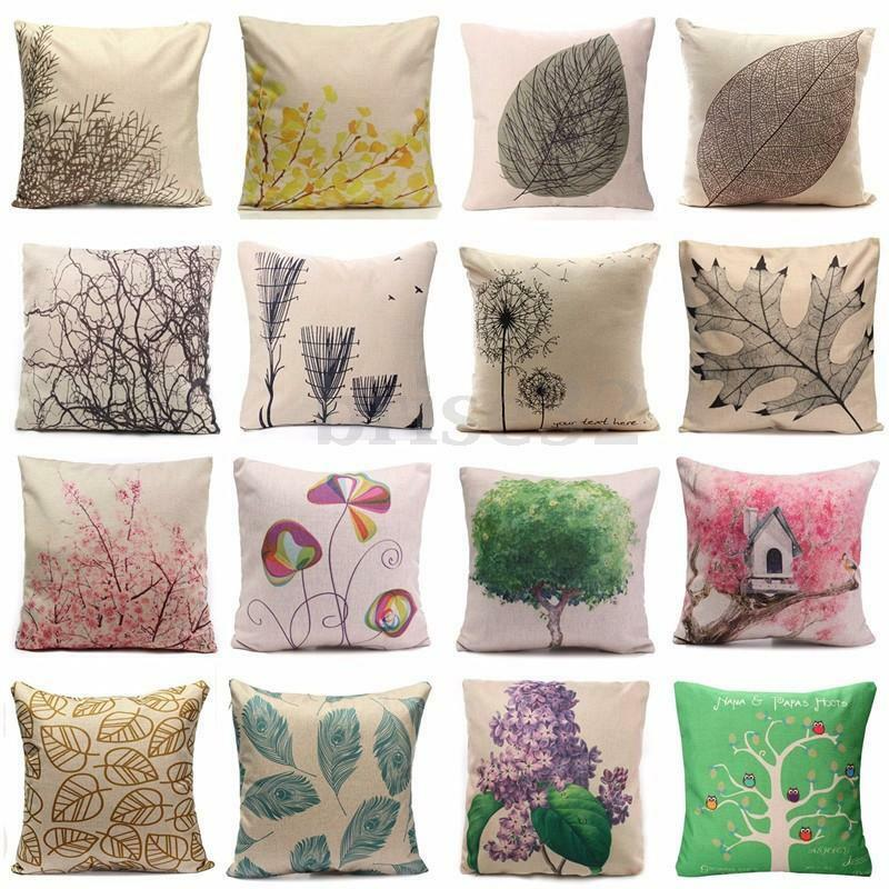Bouclair Home Decorative Pillows : Cotton Linen Forest Throw Pillow Case Cover Bed Sofa Pack Cushion Home Decor eBay