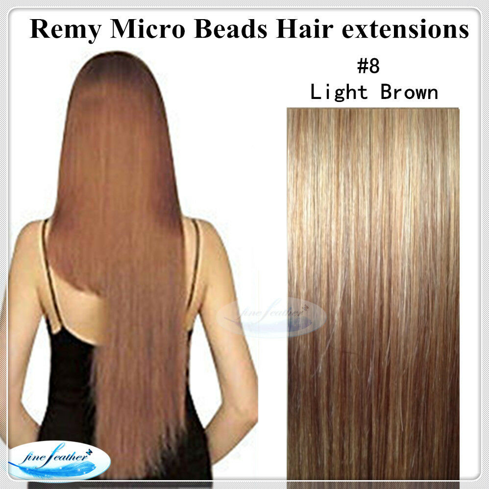 20 Indian Remy Micro Bead I Tip Hair Extension 8 Ash Brown Double