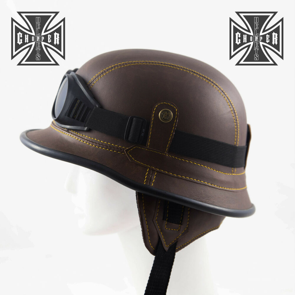Brown WWII German Style Motorcycle Half Helmet Skull Cap ...