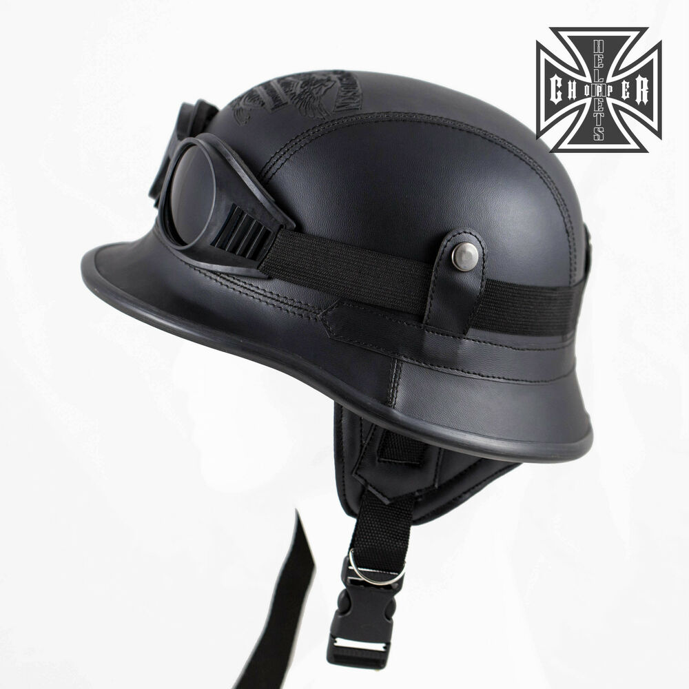 Bell custom 500 gloss black vintage low profile helmet chopper harley - Harley Wwii German Style Motorcycle Half Helmet Skull Cap Biker Chopper Novelty