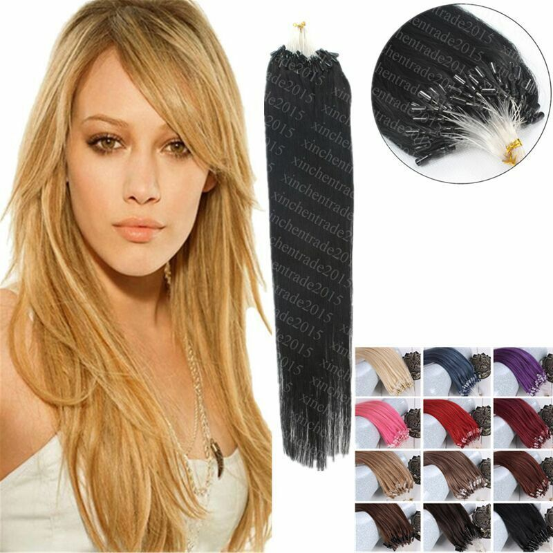 7a 16 26inch micro loop ring ombre double drawn remy human hair extensions ebay. Black Bedroom Furniture Sets. Home Design Ideas