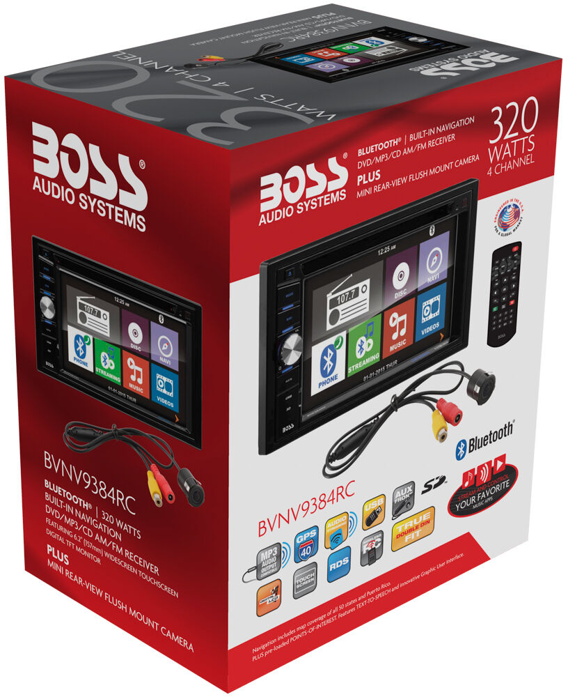Boss Bv9538b Double Din Bluetooth Dvd Car Stereo Receiver: Boss BVNV9384RC Double DIN Navigation Receiver W/ 6.2