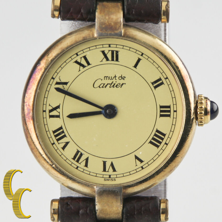 must de cartier vintage women 39 s vermeil quartz watch w leather band ebay. Black Bedroom Furniture Sets. Home Design Ideas