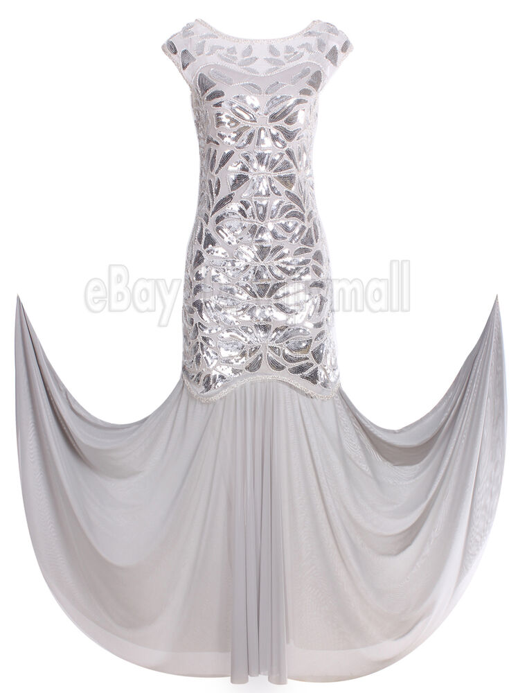 Gatsby 1920s Flapper Dress Long Evening Bridesmaid Formal