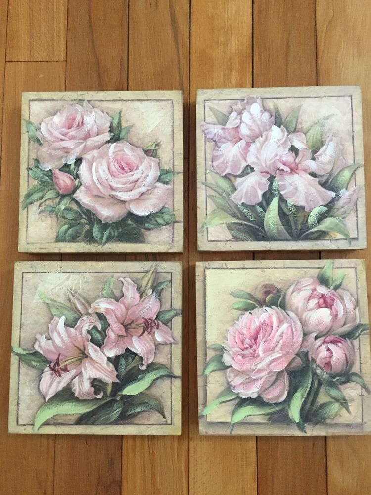 Vintage floral bouquets canvas wall art victorian roses for Victorian wall decor