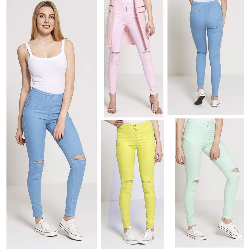 eb2b0aa1 Details about WOMENS RIPPED JEANS KNEE CUT FADED SKINNY FIT DENIM JEGGINGS  PLUS SIZE LADIES 16