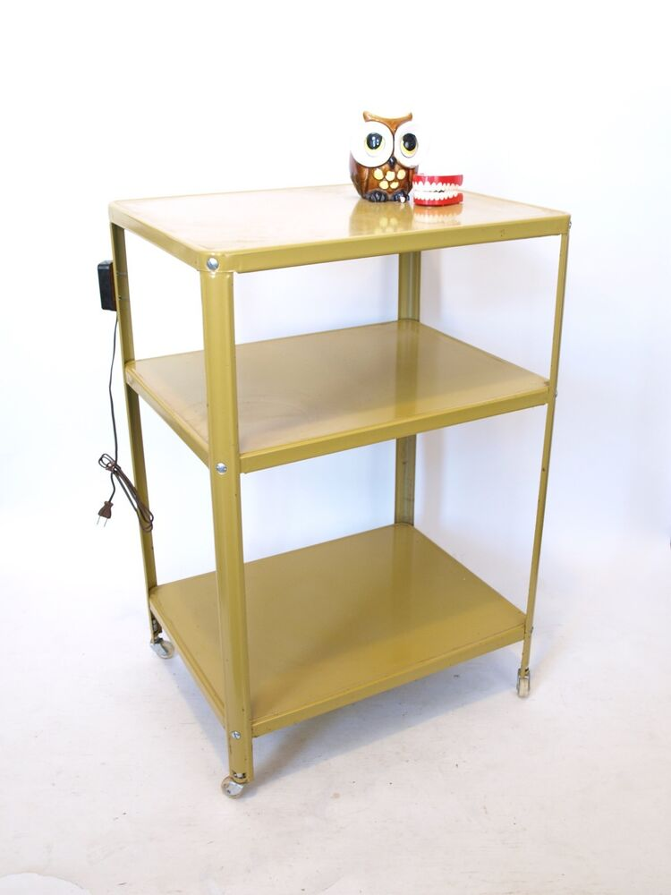 Vintage Mid Century Mustard Yellow Rolling Metal Utility Cart W Outlet 3 Shelves Ebay