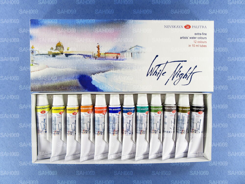 12 WHITE NIGHTS PROFESSIONAL Watercolour Paint Set in ...