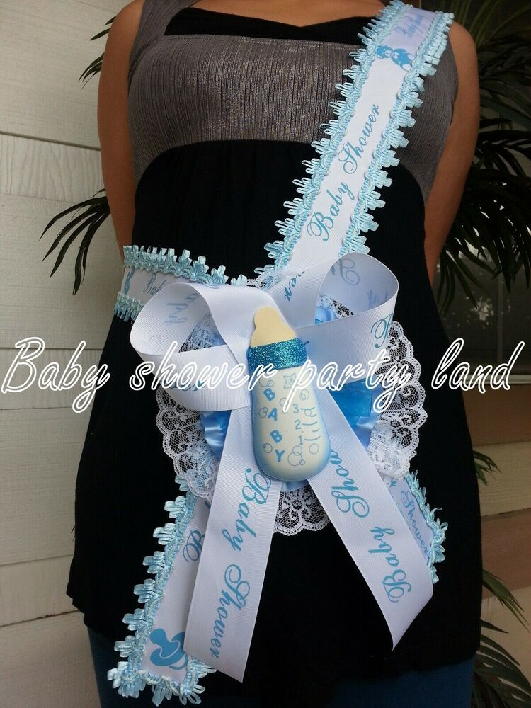 Welcome Baby Shower Mom To Be Its A Boy Sash Blue Bottle Ribbon And
