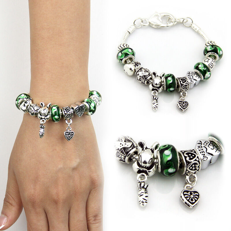 Best Friend Charm Bracelet: DIY 925 Silver Best Friend Charm Bracelet With Green