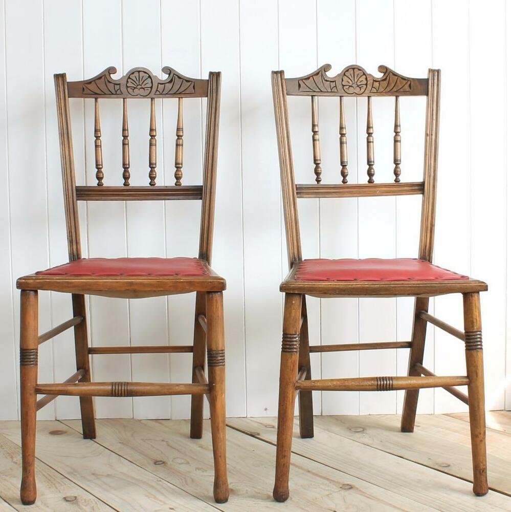 Vintage antique chairs pair wood dining bedroom side for Wood leather dining chairs