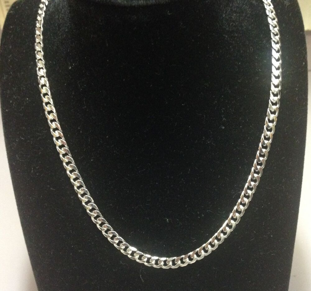 "White Gold Chain Bracelet: 14k Solid White Gold Miami Cuban Curb Link 30"" 5mm 35 Grms"